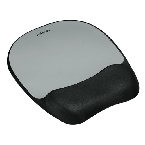Fellowes Memory Mouse Wrist Rest Silver Streak Black Ref 9175801 Each