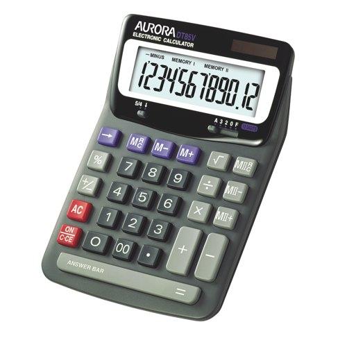 Aurora Calculator Desk 12 Digit DT85V Ref DT85V Each