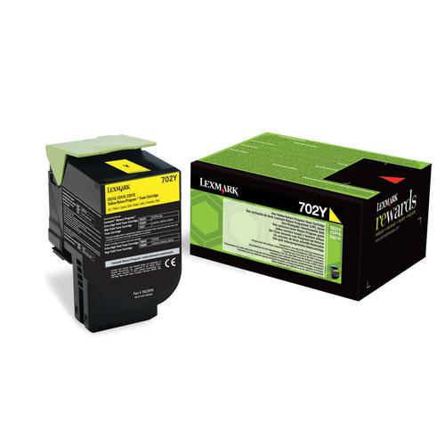 Lexmark Toner Cartridge 702Y Yellow Ref 70C20Y0 1K