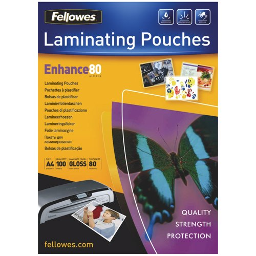 Fellowes Glossy Laminating Pouches A4 80 micron Box 100 Ref 55306101