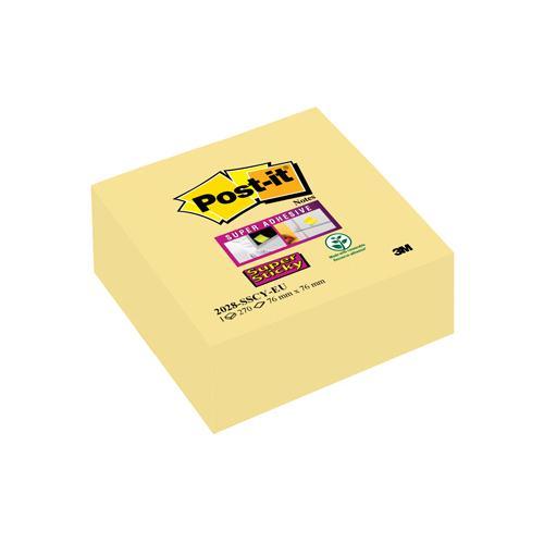 Post-it Super Sticky Cube 76x76mm 270 sheets Canary Yellow 2028-SSCY-EU