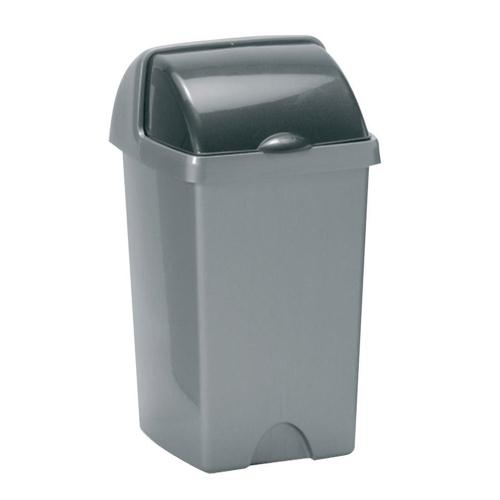 Addis Metallic Grey 24L Roll Top Bin with Lid REF AG813416