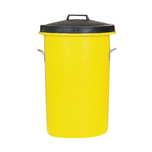 Heavyweight Cylindrical Storage Bin/Lid/Handles Yellow 311970
