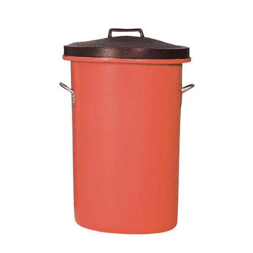 Heavyweight Cylindrical Storage Bin/Lid/Handles Red 311968