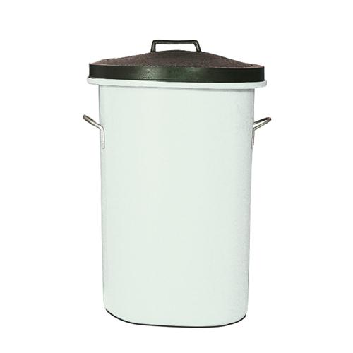 Heavyweight Cylindrical Storage Bin/Lid/Handles White 311966