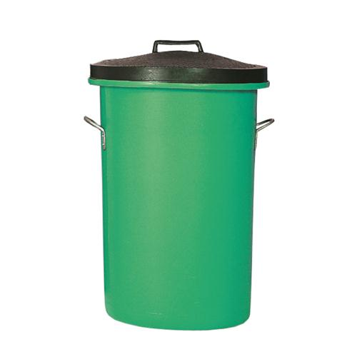 Heavyweight Cylindrical Storage Bin/Lid/Handles Green 311964