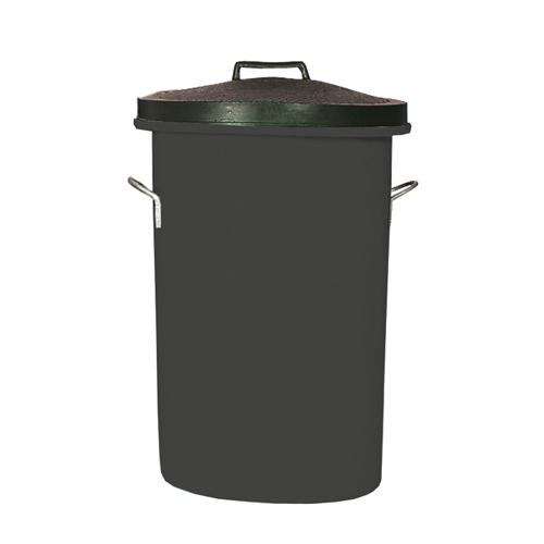 Heavyweight Cylindrical Storage Bin/Lid/Handles Black 311960