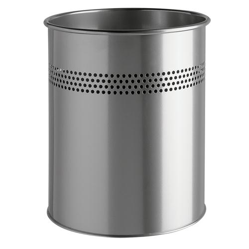 Durable 15L Cylinder Metal Bin Silver
