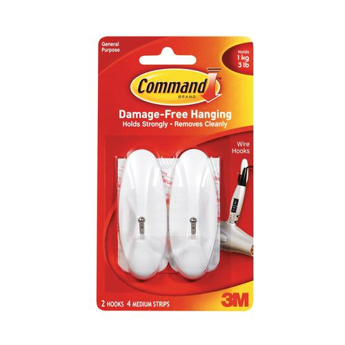 Command Medium Wire Hooks with Command Strips 17068