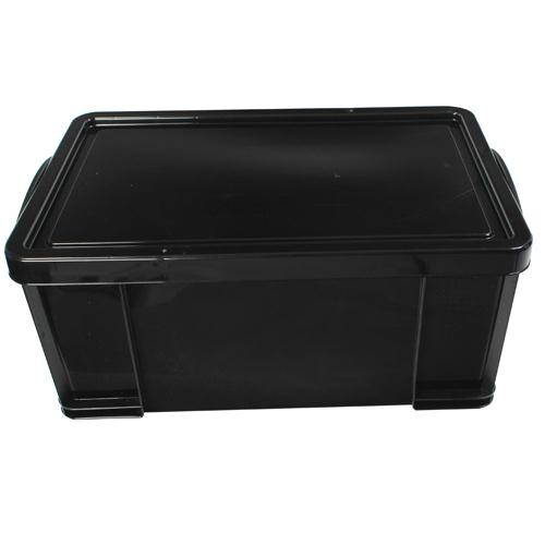 Really Useful Black 64L Recycled Plastic Storage Box (Pk 1) 64BlackR