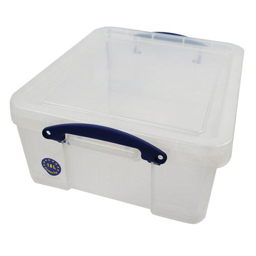 Really Useful Clear 18 Litre Plastic Storage Box W480xD390xH200mm CD/DVDs (Pk 1) EBCCD