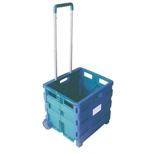 Folding Container Trolley Blue/Green 356684