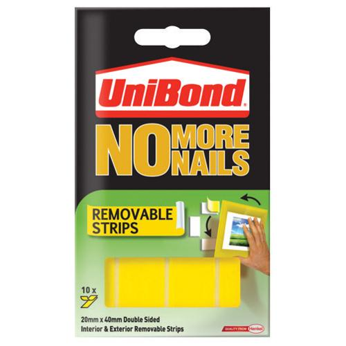 UniBond No More Nails Removable Adhesive Strips Pack of 10