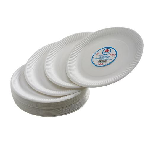 Disposable Paper Plates 180mm 7 Inch Diameter White (Pack of 100) Ref 0511040