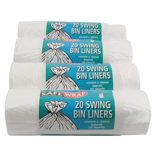 Safewrap Standard Swing Bin Liner 20 Per Roll (Pack of 4) 0441