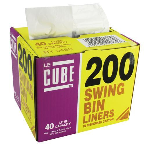 Le Cube 40 Litre Swing Bin Liner Dispenser Pk 200 0480