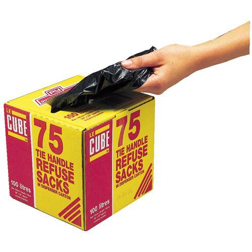 Le Cube Tie Handle Refuse Sack Dispenser100 Litre Pk 75 Black 0481