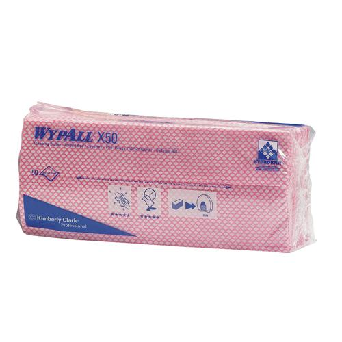 Wypall X50 Cleaning Cloths Pk 50 Red 7444