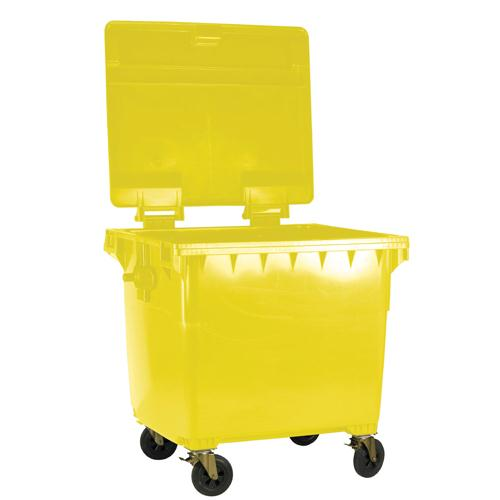 Wheeled 1100 Litre Bin with Flat Lid Yellow 377397