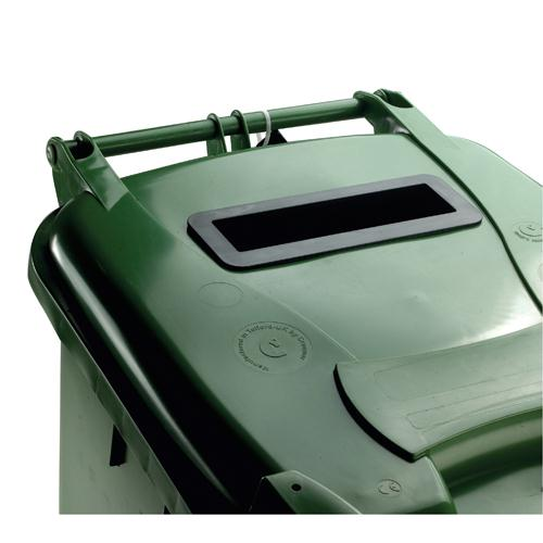 Confidential Waste Wheelie Bin 140 Litre with Slot and Lid Lock Green 377915