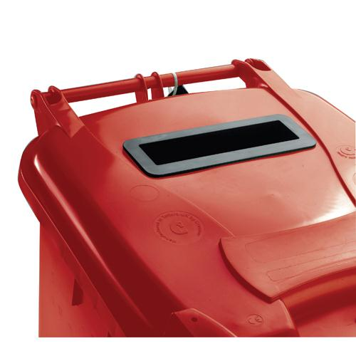 Confidential Waste Wheelie Bin 240 Litre with Slot and Lid Lock Red 377909