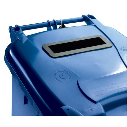 Confidential Waste Wheelie Bin 140 Litre with Slot and Lid Lock Blue 377891