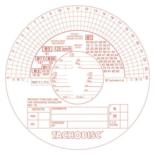 125 Tachograph Chart Pack of 100 T1/T2UN CHCK80111
