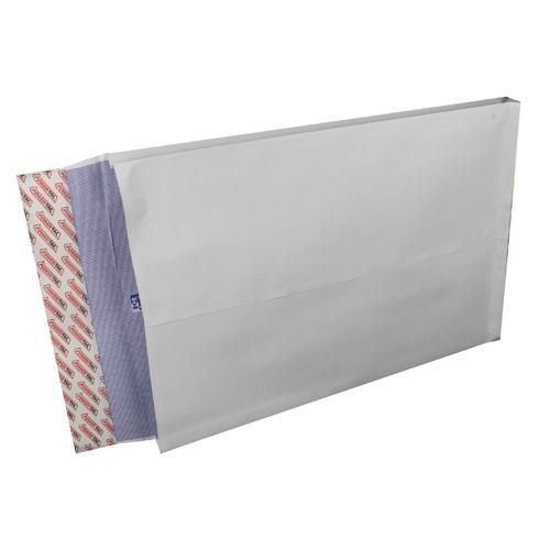 Plus Fabric Gusset Envelope 381x254x25mm White Peel and Seal Pk 100 H28866