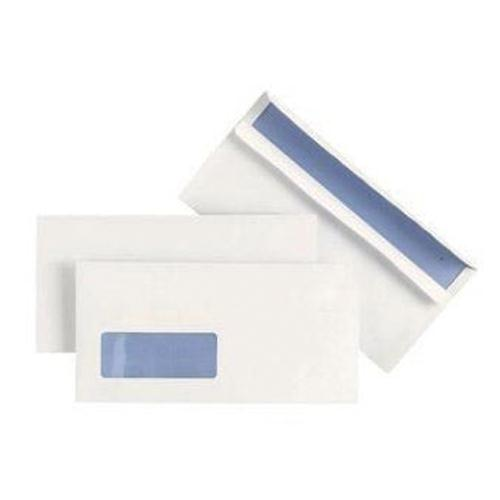 Plus Fabric Envelope DL Window White Prestige 110gsm Wallet Press Seal Pk 500 J22370