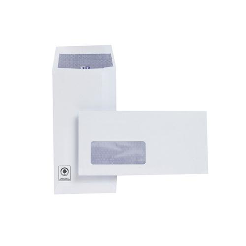 Plus Fabric Envelope DL Window White 110gsm Self-Seal Pocket Pk 500 J26670