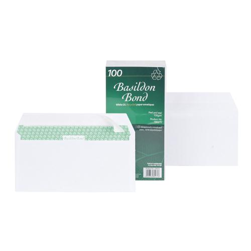 Basildon Bond Envelope DL Wallet 120gsm White Pack 100 F80275