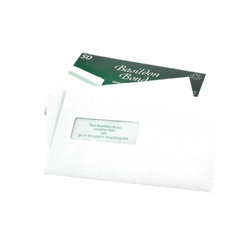 Basildon Bond C5 Window Envelope White Pk 50 M80278