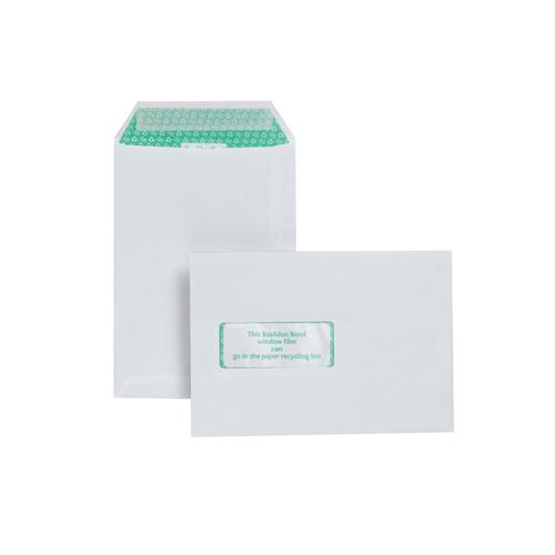 Basildon Bond Watermarked Envelope C5 Window 90gsm White Peel and Seal Pk 500 J80119