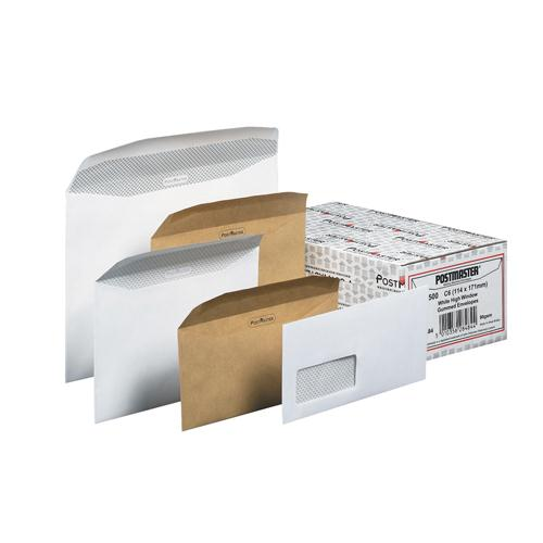 Postmaster Envelope 114x235mm Oversize DL Window Manilla Pk 500 D29152