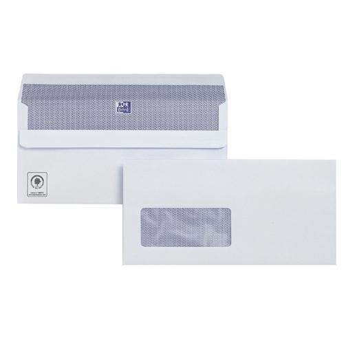 Plus Fabric Envelope DL Window White 110gsm Press-Seal Banker Pk 250 C23370