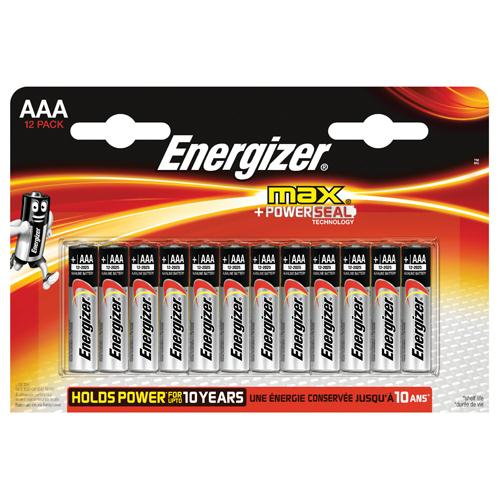 Energizer MAX AAA Batteries Pack of 12 REF E300103700