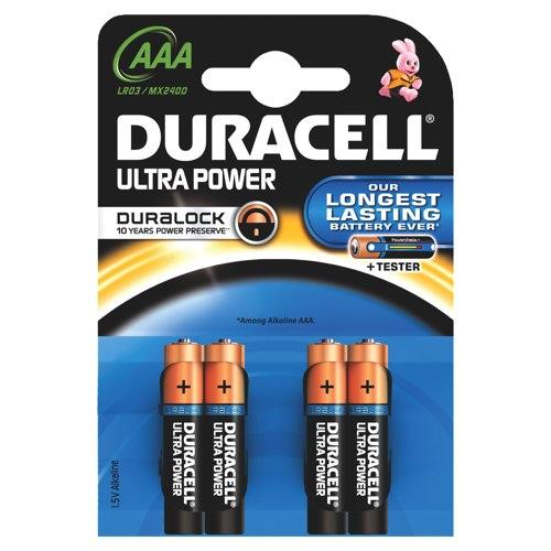Duracell Ultra Alkaline Batteries AAA Pack 4 Ref 75051959