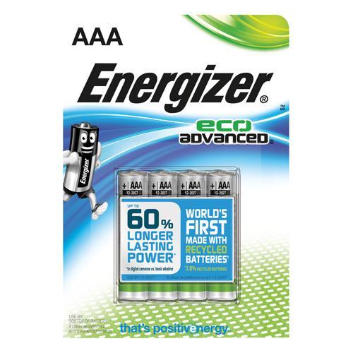 Energizer EcoAdvanced Alkaline Batteries E92 AAA Pk 4 E300128100