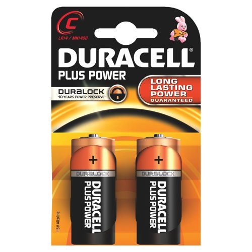 Duracell Plus C Batteries Pack of 2 REF 81275429