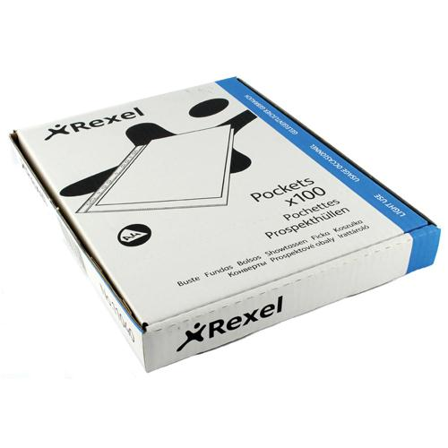 Rexel Superfine Polypropylene Top Opening Pocket Clear Pk 100 RSPA4 11040