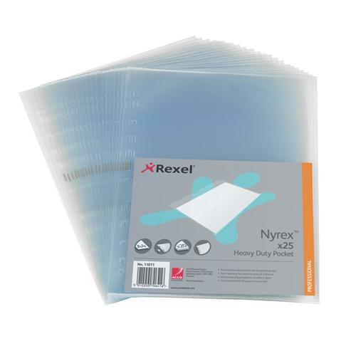 Rexel Nyrex Pocket PVC Heavy Duty Side Opening Clear Pk 25 NRBA41 11011