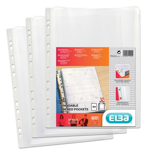 Elba Expanding Punched Pocket Clear (Pk 10) A4 100080753