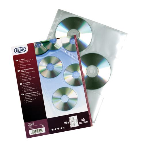 Elba CD/DVD Pocket Pk 10 Clear 100206995