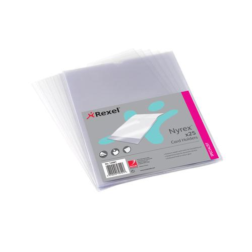 Rexel Nyrex Card Holder A4 Clear Open Top Pk 25 PGCA41 12081