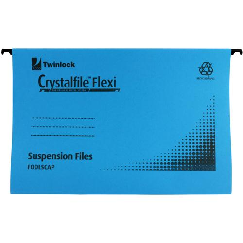 Rexel Crystalfile Flexi Standard Foolscap Blue Pk 50 3000041