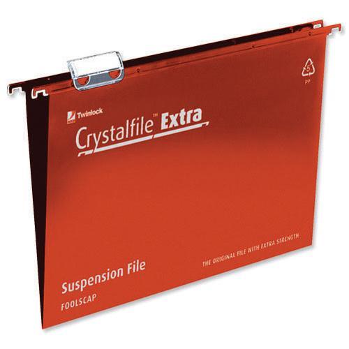 Rexel Crystalfile Extra Suspension File Foolscap Red Pk 25 70629