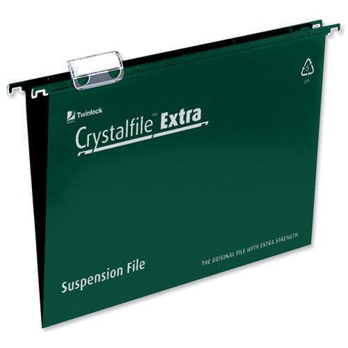 Rexel Crystalfile Extra Suspension File A4 Green Pk 25 70634