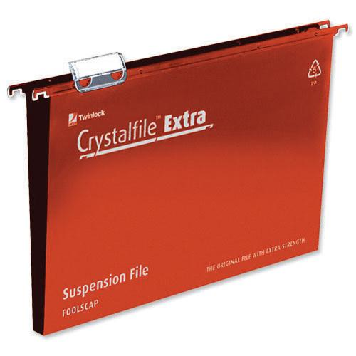 Rexel Crystalfile Extra Suspension File 30mm Foolscap Red Pk 25 70632