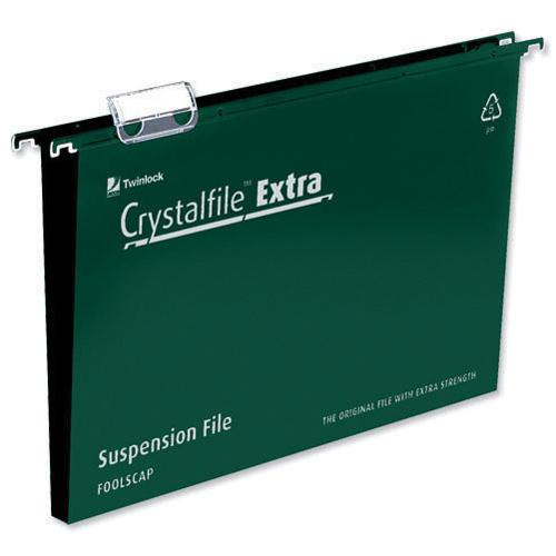 Rexel CrystalFile Extra Suspension File A4 Green 30mm (Pack of 25) Ref 71759