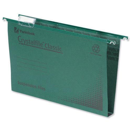 Rexel Crystalfile Classic Suspension File Complete 30mm A4 Green Pk 50 70621